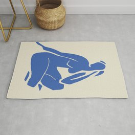Nude in blue cut out Rug