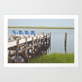 Brigantine Beach Chairs Art Print