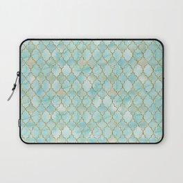 Luxury Aqua and Gold oriental pattern Laptop Sleeve