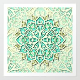 White cyan and yellow Beautiful Wedding Mandala Art Print