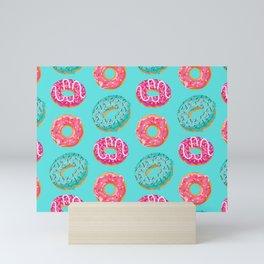 Donuts On Blue Background Cute Food Sweet Pattern Mini Art Print