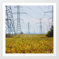 Landscape with power lines Art Print