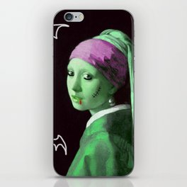 Zombie with a pearl earring iPhone Skin