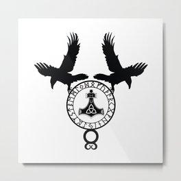 Norse Ravens - Mjolnir Metal Print