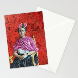 Frida Kahlo with Poinsettias Stationery Cards