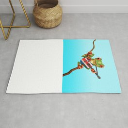 Tree Frog Playing Acoustic Guitar with Flag of Costa Rica Rug
