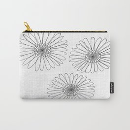 B&W Daisies Carry-All Pouch