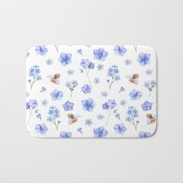 Elegant lavender brown watercolor honey bee floral Bath Mat