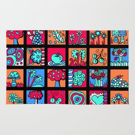 Apples Trees and Flowers Mini Doodle Art - Black Red Blue Rug