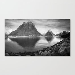 Milford Sound Panorama in black and white Canvas Print