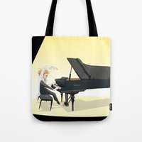tim shumate Tote Bags featuring Tim Minchin by Lesley Vamos