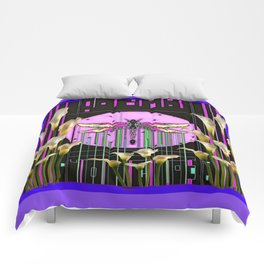 Purple Art Nouveau Calla Lilies Dragonfly Art Comforters