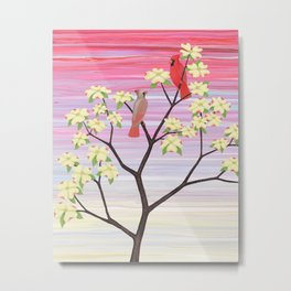 cardinals and dogwood blossoms Metal Print