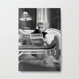 Mari-lyn Monroe Reading the New- Gift, Home Decor, photography, American icon, actress, Vintage poster, print, Metal Print