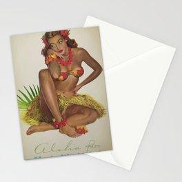 Hawaiian Hula Maiden Vintage Travel Poster Stationery Cards