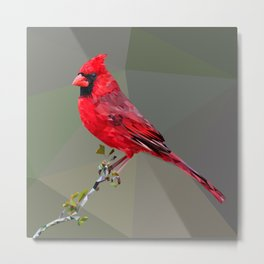 Perched Bird - Cardinal Metal Print