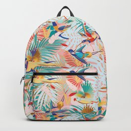 Colorful, Vibrant Paradise Birds and Leaves Backpack