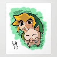 Link N Piggy Art Print