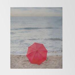 Red Umbrella lying at the beach III Throw Blanket