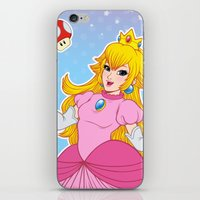 princess peach iPhone & iPod Skins featuring PRINCESS PEACH by Laurdione