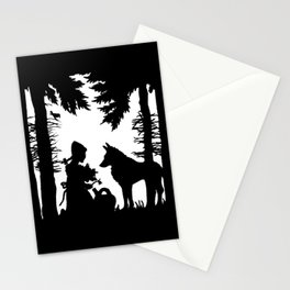 Black Silhouette Red Riding Hood Wolf in Woods Trees Stationery Cards