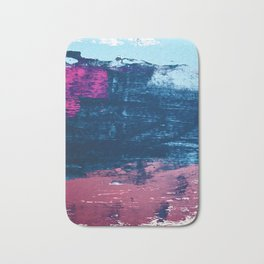 Early Bird [2]: A vibrant minimal abstract piece in blues and pink by Alyssa Hamilton Art Bath Mat