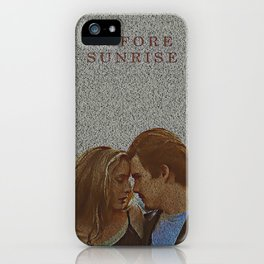 Text Portrait of Ethan Hawke and Julie Delpy with Full Script of the movie Before Sunrise iPhone Case