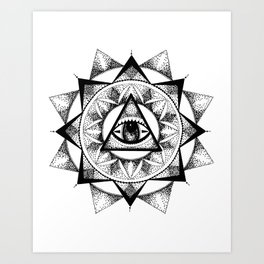 Eye Dotwork Mandala Print Art Print