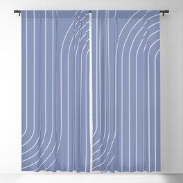 Minimal Line Curvature - Blue Blackout Curtain