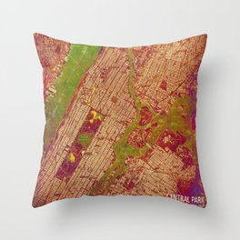 Central Park New York, old map, vintage old map, mapa antiguo, american map Throw Pillow