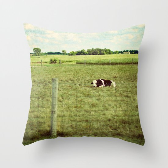 resting cow Throw Pillow