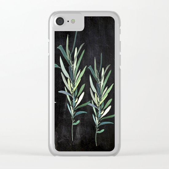 Eucalyptus Branches On Chalkboard Clear iPhone Case