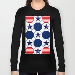 Nautical Patriotic Hexagons Long Sleeve T-shirt