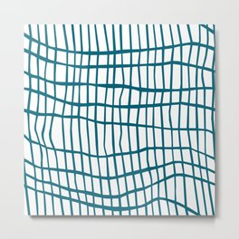 Net Blue on White Metal Print