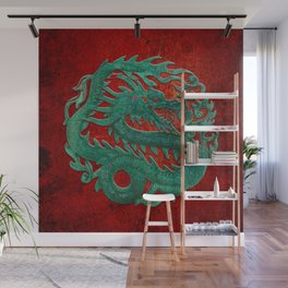 Wooden Jade Dragon Carving on Red Background Wall Mural