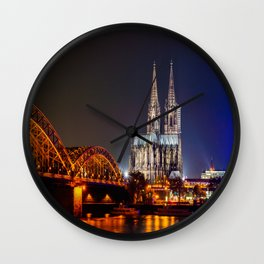 Cologne Cathedral at night Wall Clock