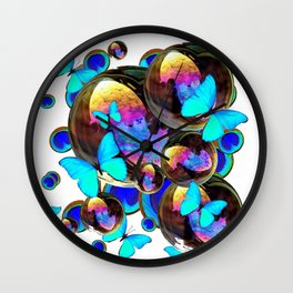 IRIDESCENT BLACK BUBBLES, BLUE BUTTERFLIES,PEACOCK ART Wall Clock