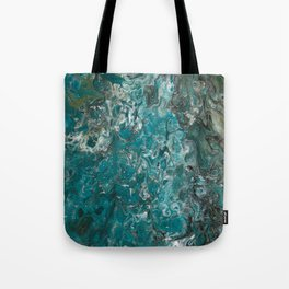 Ocean View, abstract poured painting Tote Bag