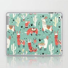 Llamas and cactus in a pot on green Laptop & iPad Skin