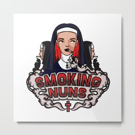 Smoking Nuns Metal Print