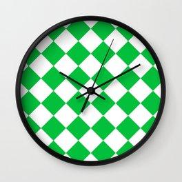 Large Diamonds - White and Dark Pastel Green Wall Clock