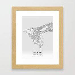 Dakar, Senegal - Light Map Framed Art Print