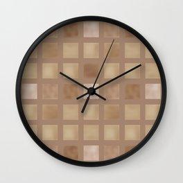 Brown tile . Wall Clock