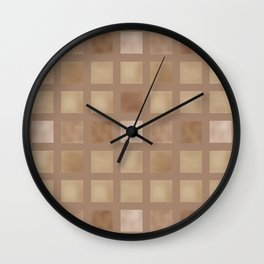 Brown tile . Wall Clock