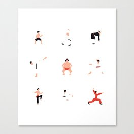 Karate Fighter & Sumo Wrestler Canvas Print