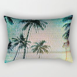 Analogue Glitch Palm Trees Sunrise Rectangular Pillow