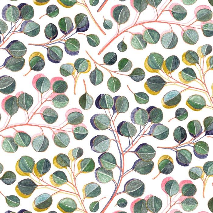 Simple Silver Dollar Eucalyptus Leaves Leggings