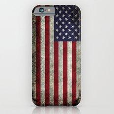American Flag, Old Glory in dark worn grunge Slim Case iPhone 6s