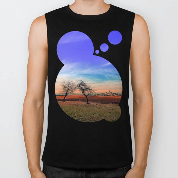 Trees, sunset, clouds, panorama and village | landscape photography Biker Tank