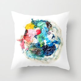 Rainbow Earth Paint Moon Love Throw Pillow
